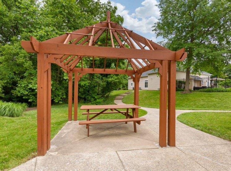 Wooden Pergola Covering Picnic Table on Concrete with Trees in the Background