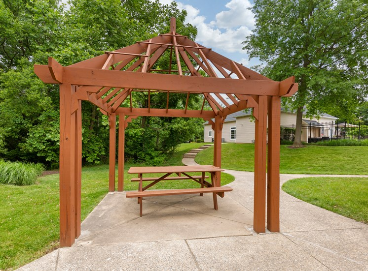 Wood gazebo with picnic table next to walkway surrounded by green grass and mature trees