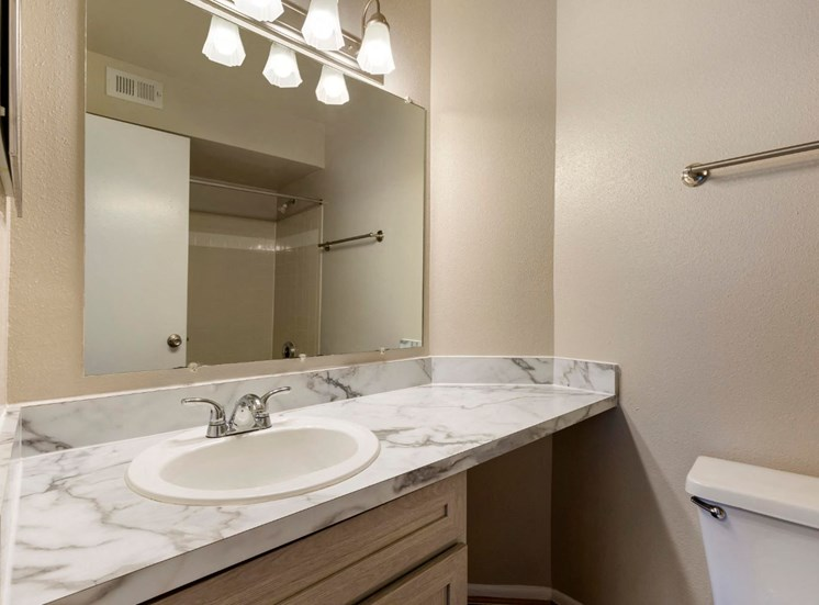 Bathroom Vanity with Marble Style Counter and Mirror with Shower Reflection
