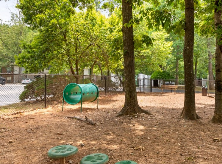 Fenced in Dog Park with Equipment with Trees and Building Exteriors in the Background