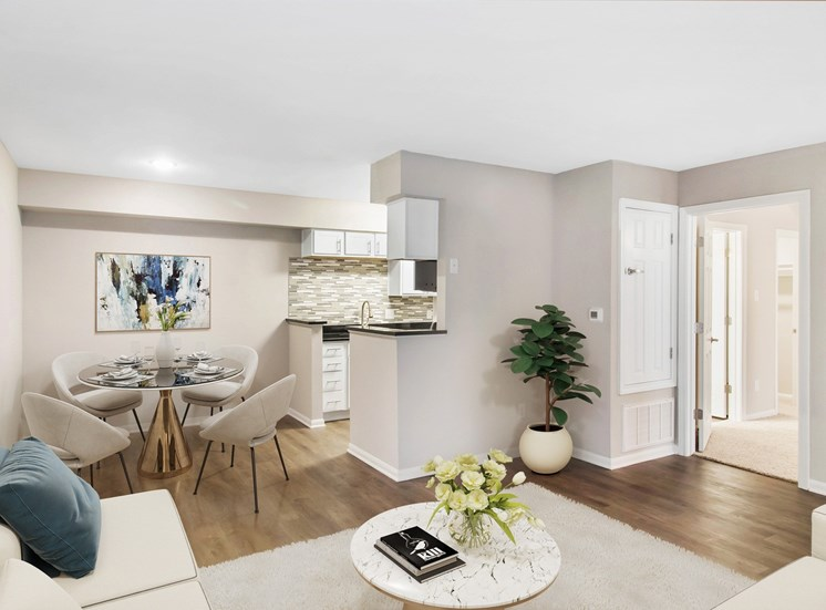 Virtual staged living room and dining room with contemporary furniture and hardwood floors