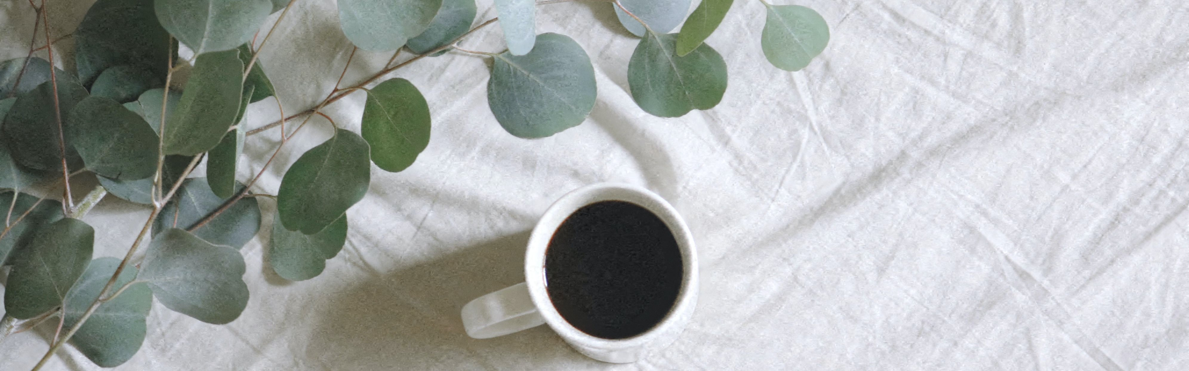 Stock Image of Coffee Cup on White Cloth Next to Leafy Branches