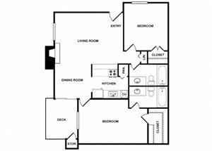 Two Bedroom Two Bathroom Floor Plan 938 Square Feet