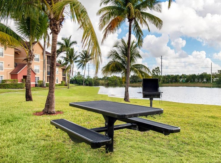 Picnic Table and Grill with Waterfront View Next to Palm Trees with Building Exteriors in the Background