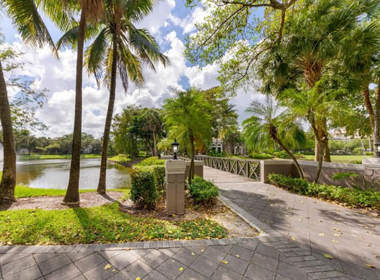 Walking Trail and Bridge Over Water with Water Feature