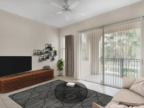 The Preserve at Deer Creek Apartments |  Living Room with Tile Flooring and Private Patio Access