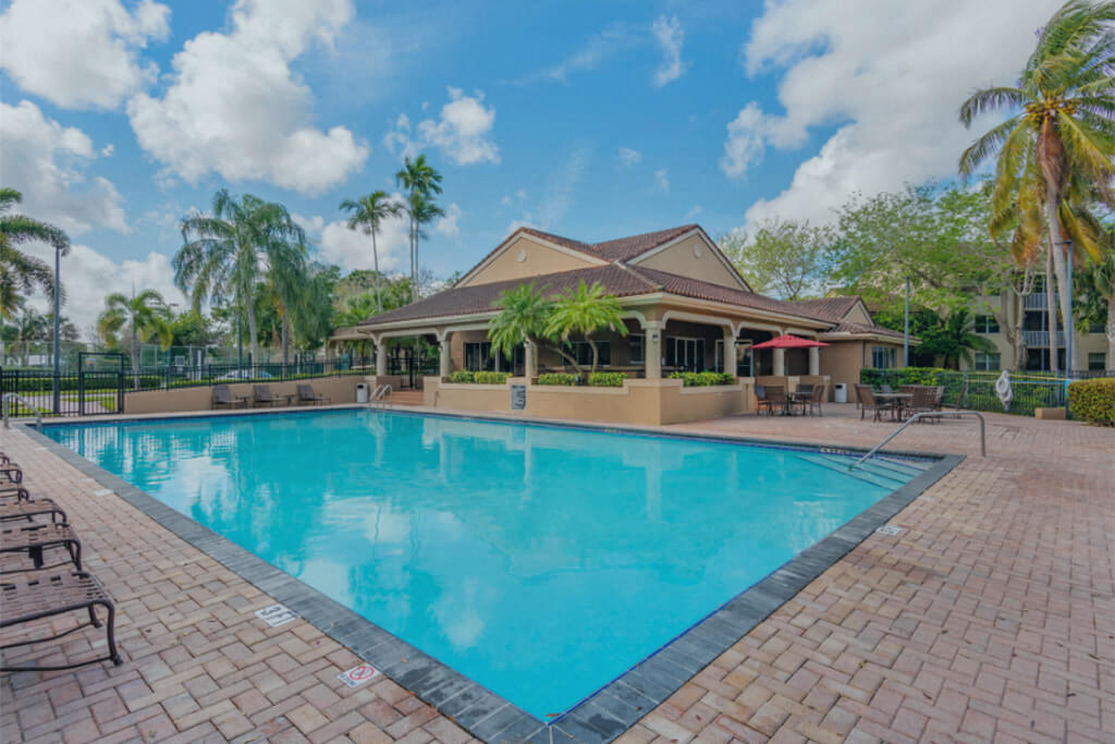 Swimming pool with sundeck and leasing office exterior