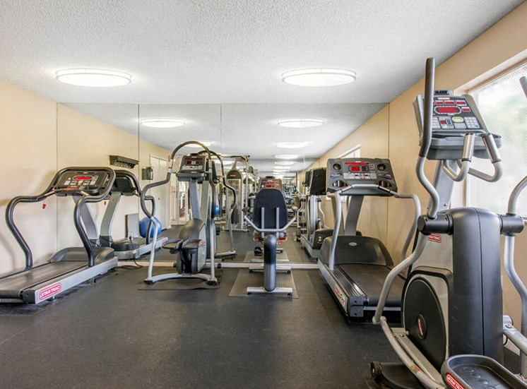 Fitness center with treadmill and elliptical
