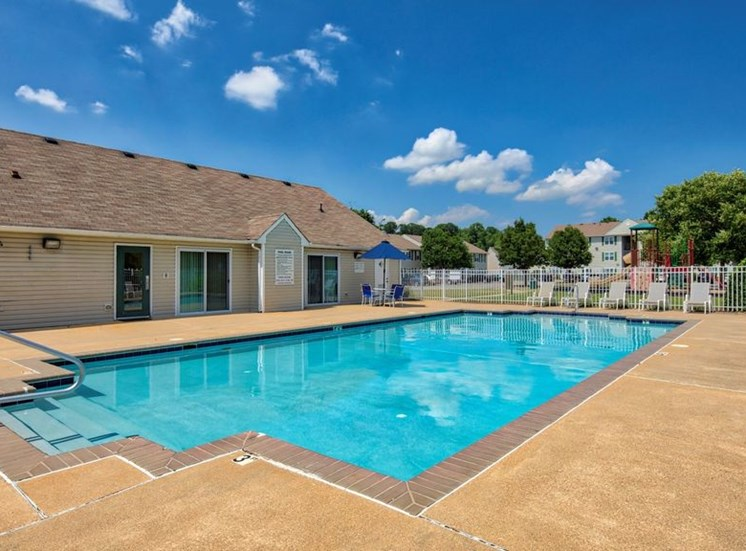 Swimming Pool And Relaxing Area at Bridgeport Apartments, Hampton, Virginia