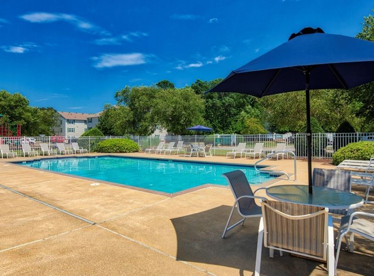 Swimming Pool and Sun Deck with Lounge Chairs at Bridgeport Apartments, Hampton, 23663