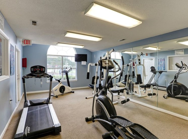 Fitness Center With Updated Equipment at Foxridge Apartments, Durham, NC, 27703