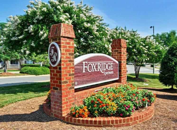 Community Entrance Sign at Foxridge Apartments, North Carolina, 27703