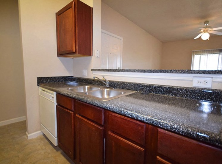 Kitchen with double basin sink and large counter space