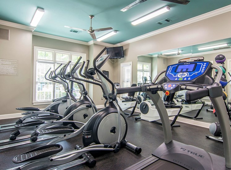 Bright Fitness Center with Exercise Equipment and Mirrored Wall and Mounted TV