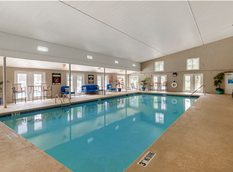 Indoor Swimming Pool with Blue Pool Furniture