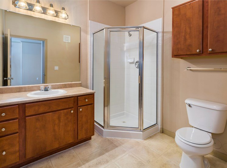 Bathroom with Wood Cabinets and Walk in Glass Shower