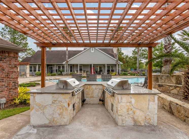 Poolside Summer Kitchen under Wooden Pergola