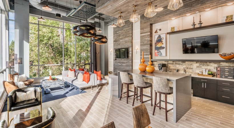 The Flats Exchange on Erwin | Resident lounge with coffee bar