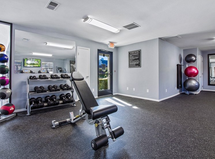 Fitness Center with Exercise Equipment and free weights