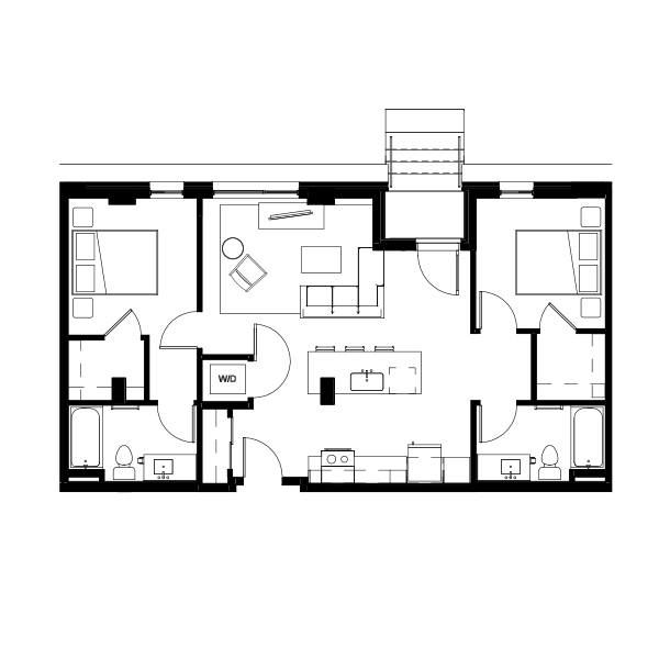 Nightingale Two Bed Two Bath 4 (nghb04) 936 SF 2G
