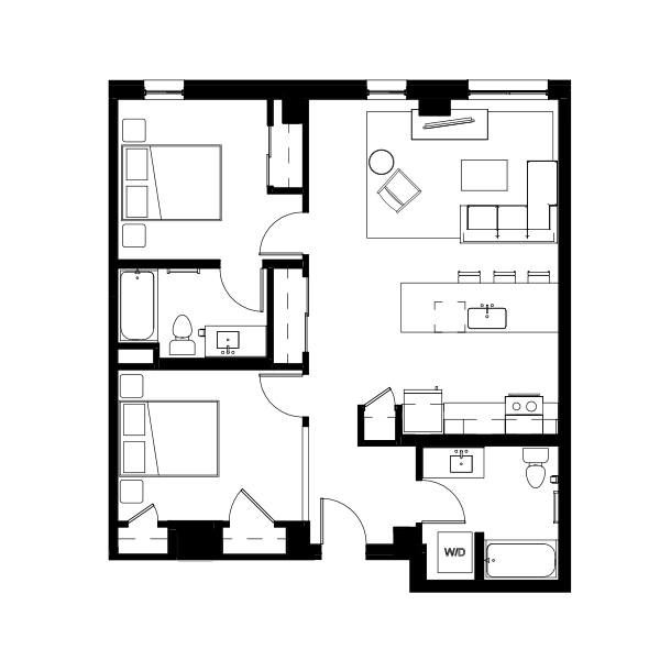 Nightingale Two Bed Two Bath 5 (nghb05) 954 SF 2F