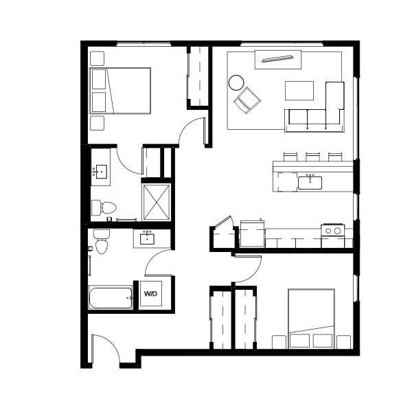 Nightingale  Two Bed Two Bath 6 (nghb06) 1009 SF 2A