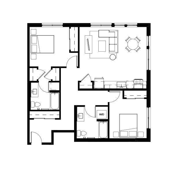 Nightingale Two Bed Two Bath 7 (nghb07) 1083 SF 2C