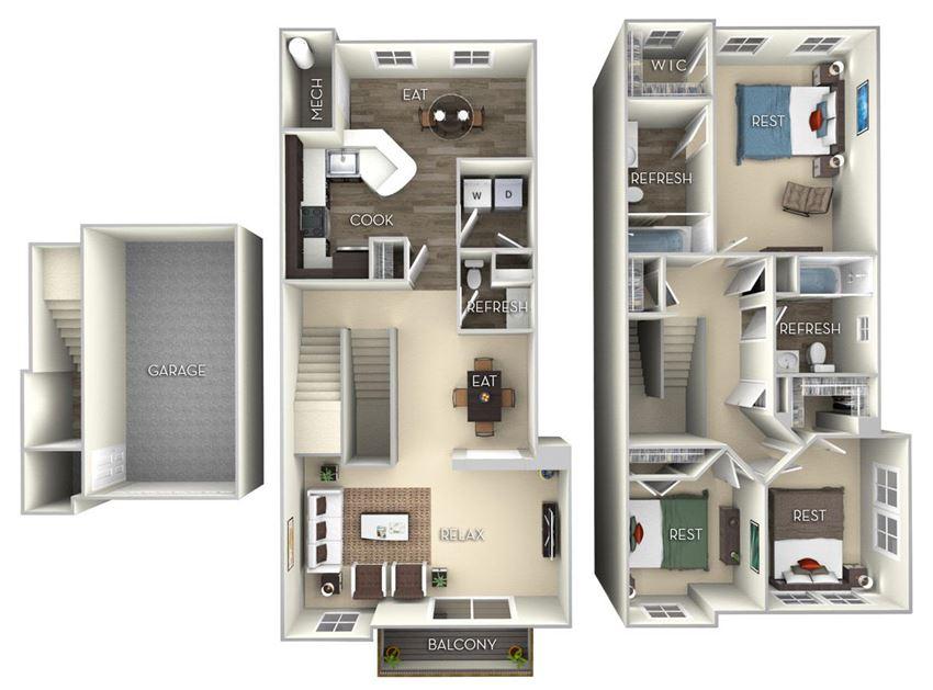 Spruce TH Broadlands 3 bedroom 2.5 bath furnished floor plan apartment in Ashburn VA