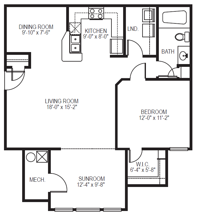 Navigator phase II one bedroom one bath with sunroom floor plan at Village on the Lake Apartments in Spring Lake NC