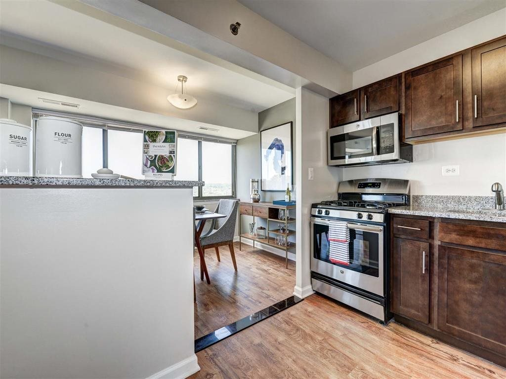 Kitchen with Ample Storage at The Mark Apartments, Alexandria