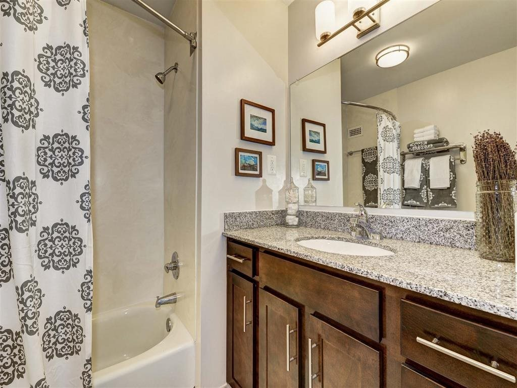 Bathroom with Large Vanity Storage at The Mark Apartments, Virginia