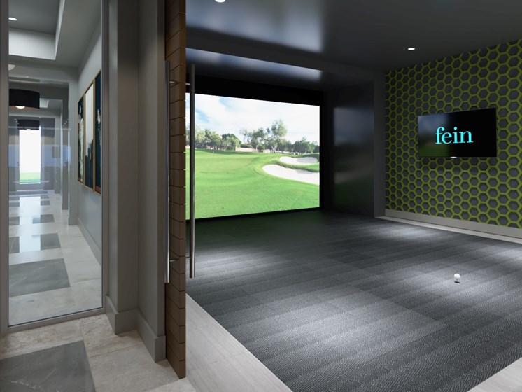Golf Simulator Room at luxury apartments in Spring