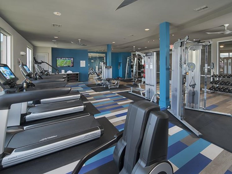 24-hour strength and cardio center at The Mark apartments in Spring
