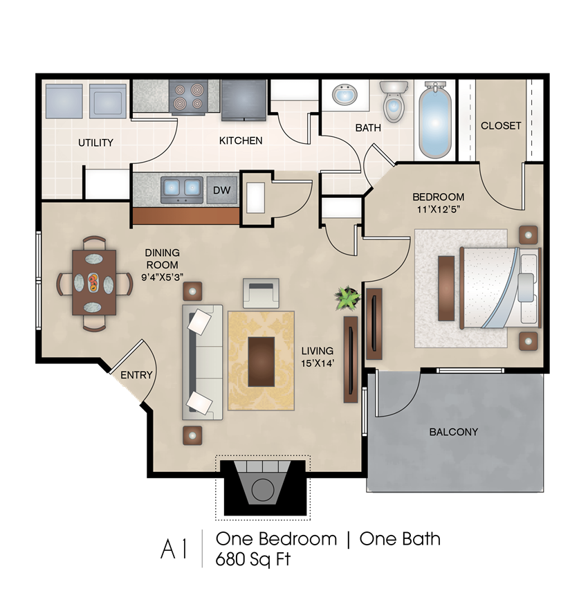 One Bedroom Floor Plan layout