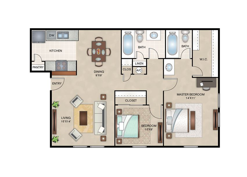 Magnolia floor plan layout at Arbors of Corsicana Apartments