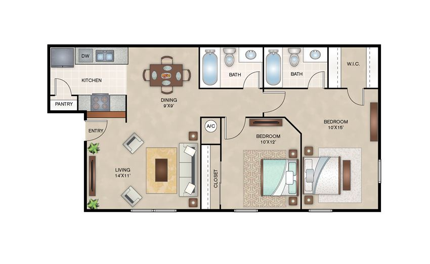 Mulberry floor plan layout at Arbors of Corsicana