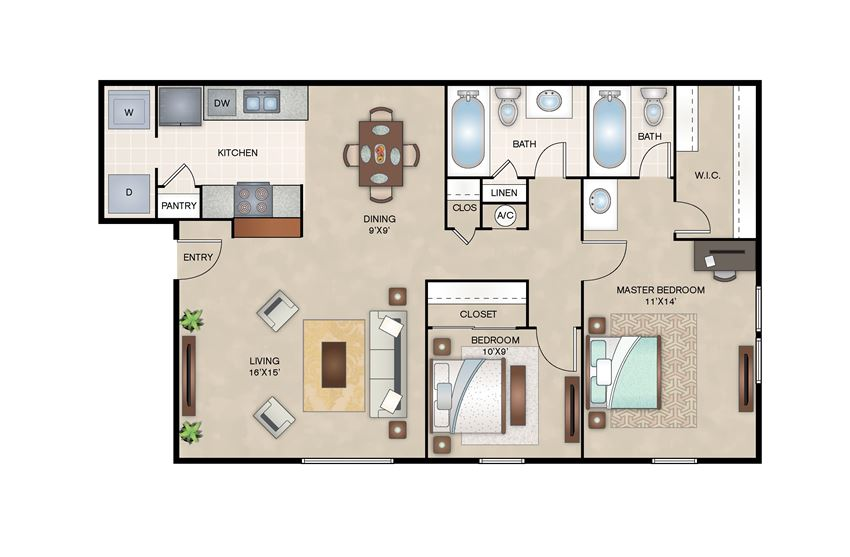 Willow floor plan layout at Arbors of Corsicana Apartments