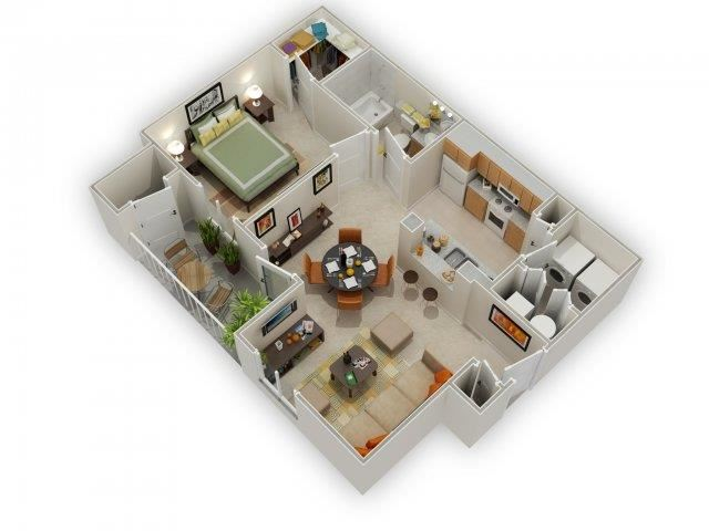 Carlyle 1 Bed 1 Bath Floor Plan at Main Street Village Apartments