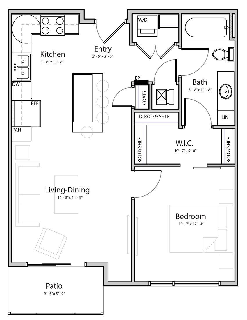 Bliss (B1-2) one bedroom one bathroom at Haven at Uptown