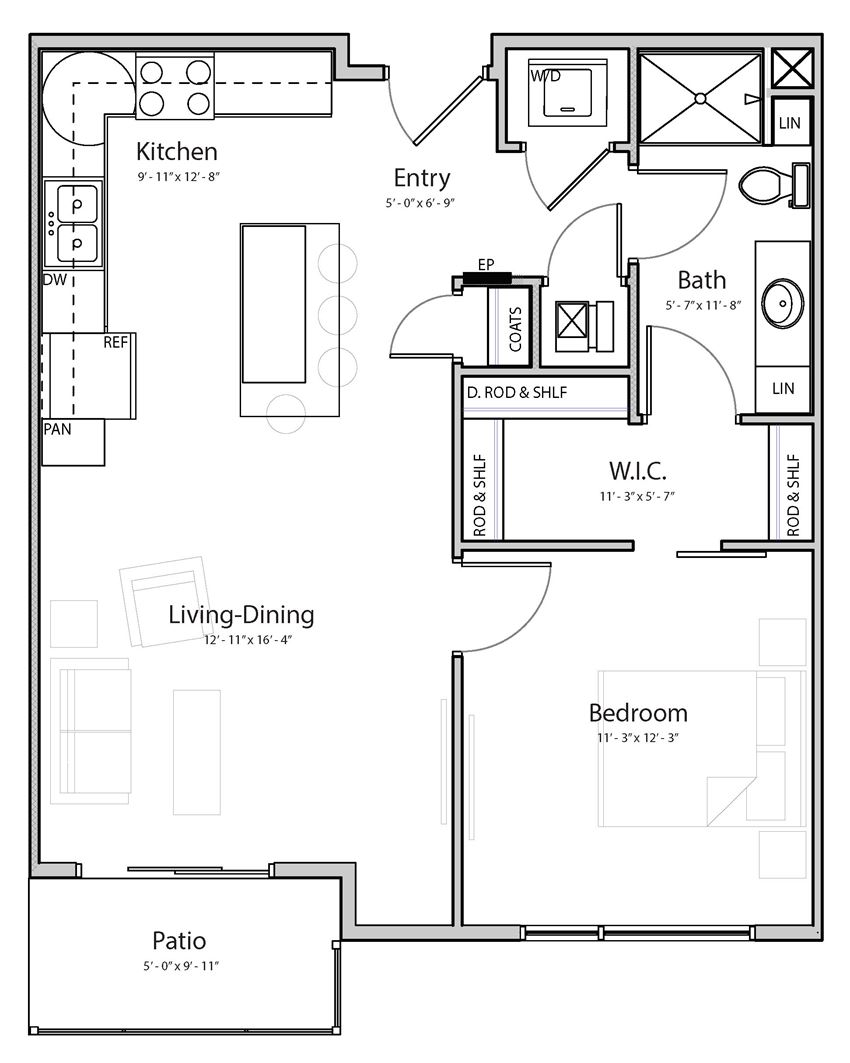 Bliss (B1-3) one bedroom one bathroom at Haven at Uptown
