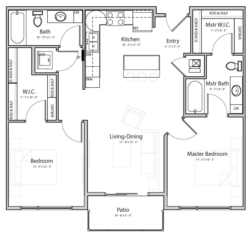 Cloud (C1) two bedroom two bathroom at Haven at Uptown