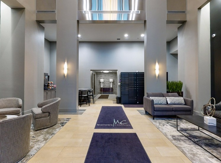 All about the details in the modern lobby at Midtown Crossing Apartments
