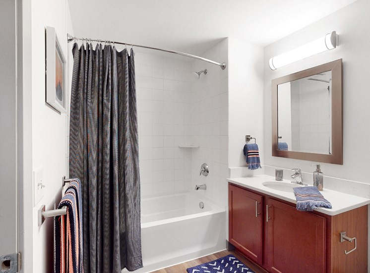 Spacious bathroom with tub and shower and large vanity in a 1 bedroom floor plan Midtown Crossing Apartments Omaha