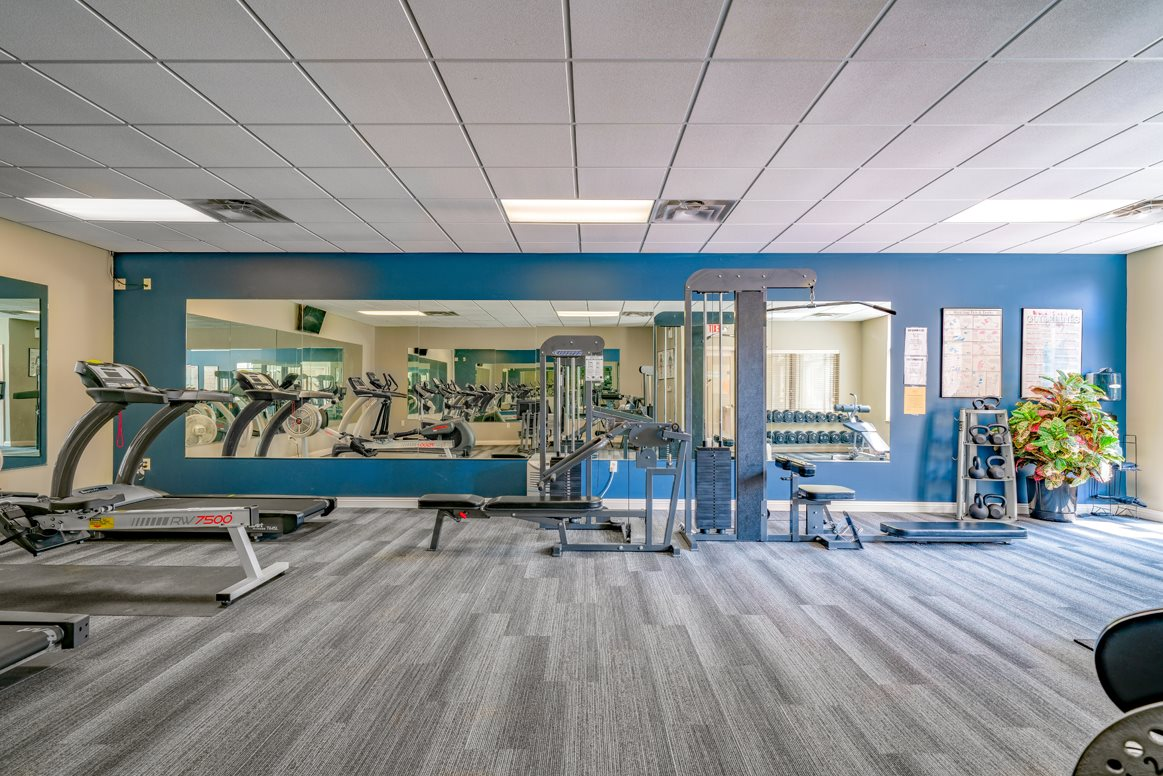 Modern equipment and plenty of space in the exercise room at Southwind Villas