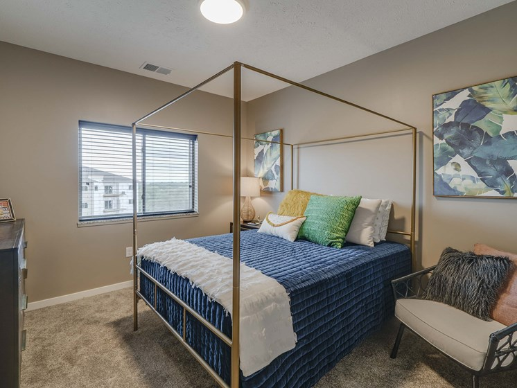Spacious bedroom at The Flats at Shadow Creek new luxury apartments in east Lincoln NE 68520