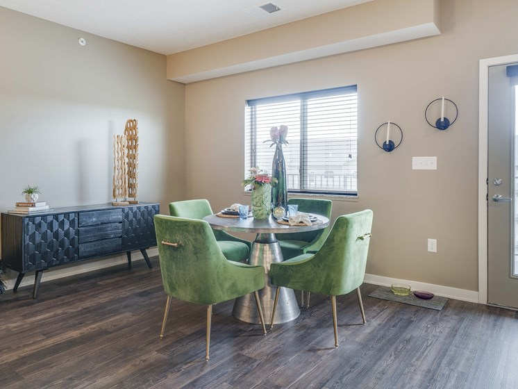 Open floor plans with spacious kitchens at The Flats at Shadow Creek new luxury apartments in east Lincoln NE 68520