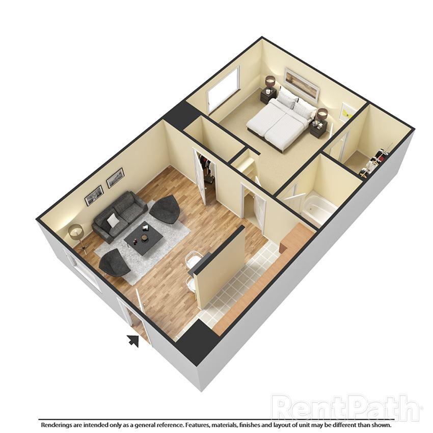 one bedroom apartment 3d floor plan