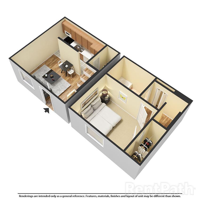 one bedroom townhouse 3d floor plan