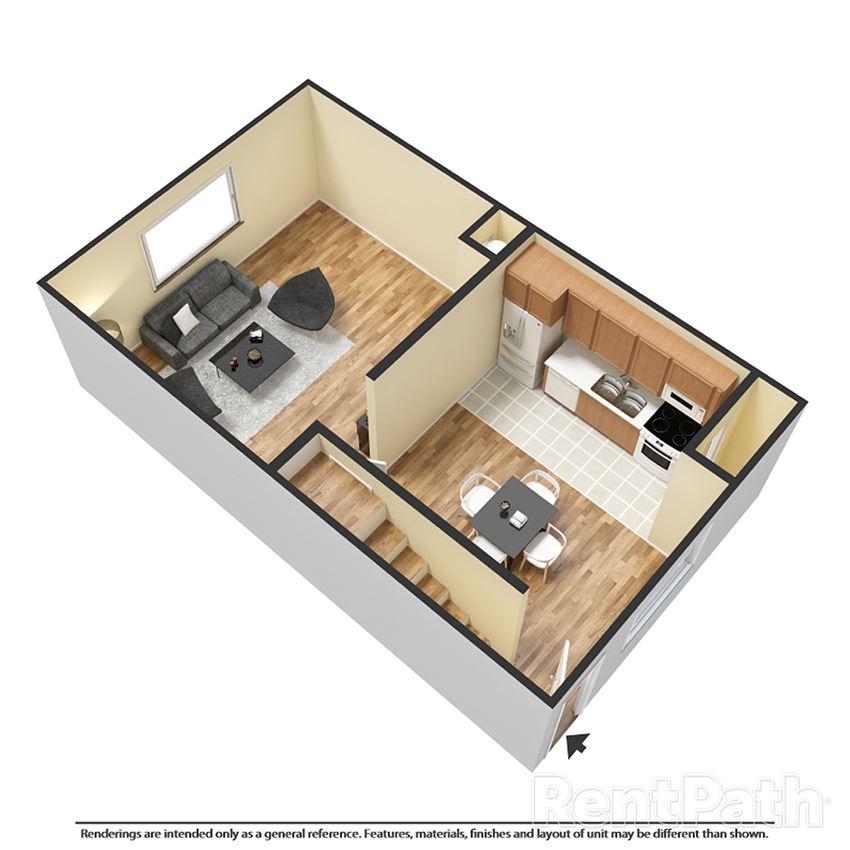 first floor 3d floor plan townhouse