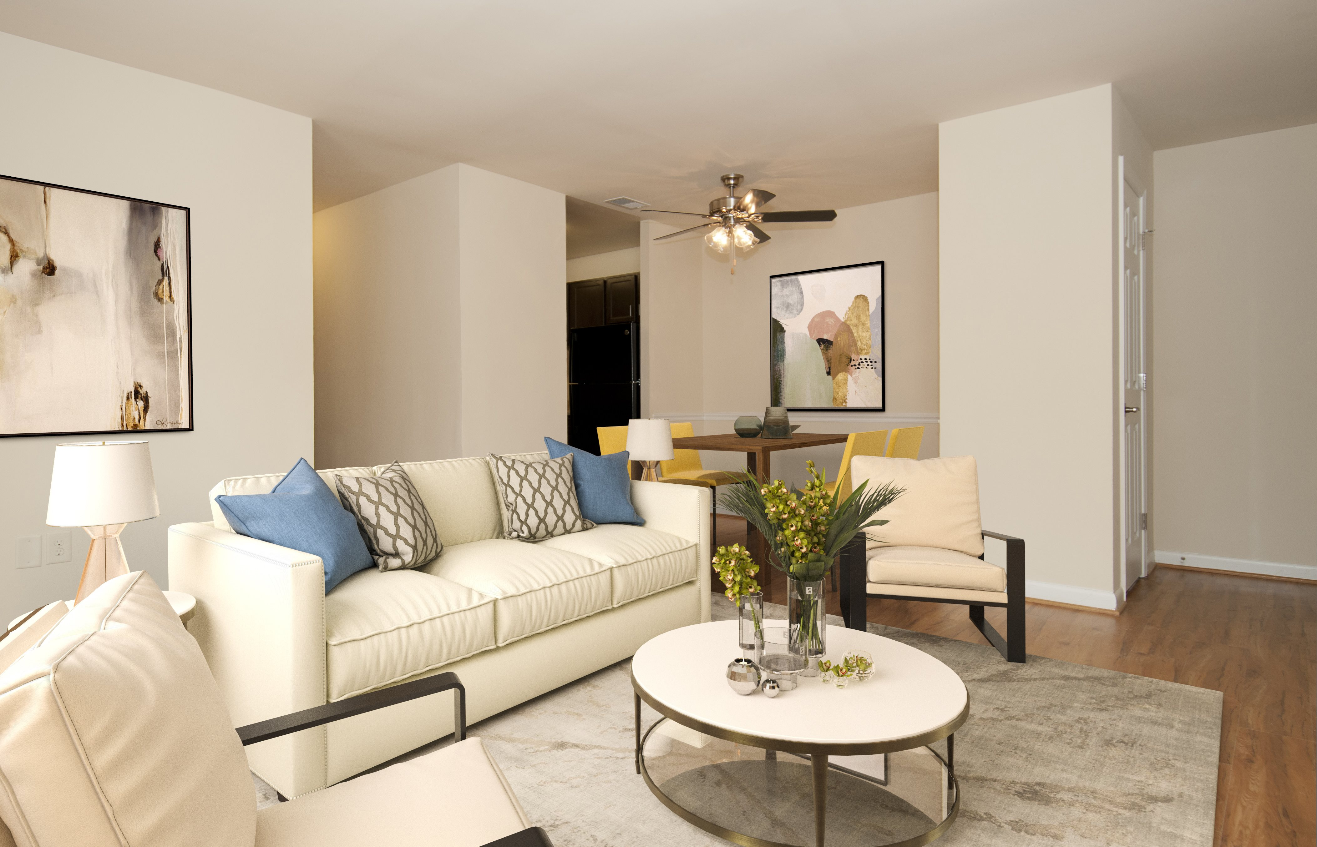 Living room rendering with white sofa and blue and and yellow accents